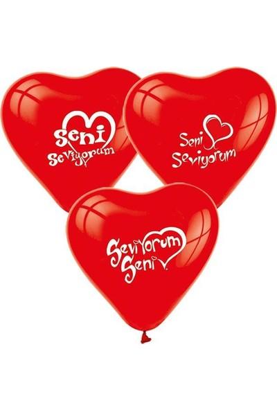 Elitetime Balon Seni Seviyorum Baskılı Kalp 10 Adet