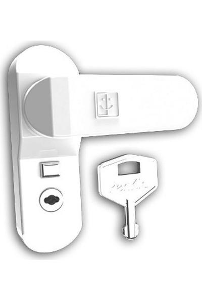 Penkid Emniyet Mandalı Düğmeli Anahtarlı / Beyaz
