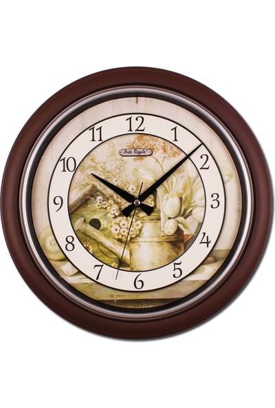 Regal 0262 A2 Yuvarlak Klasik Çiçekli Duvar Saati