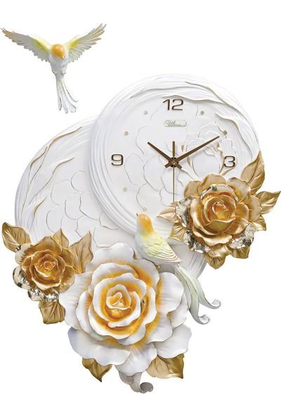 Ultima 1011 G Kabartma Çiçek Desenli Duvar Saati