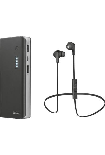 Trust 21149 Primo 10000Mah Taşınabilir Şarj Cihazı Powerbank + Trust 21844 Cantus Bluetooth Kulakiçi Kulaklık