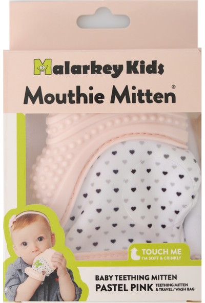 Mouthie Mitten - Pastel Pembe Düşmeyen Diş Kaşıyıcı Eldiven