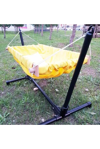 Svava Standlı Ahşap Bebek Hamak Beşik (Sarı)
