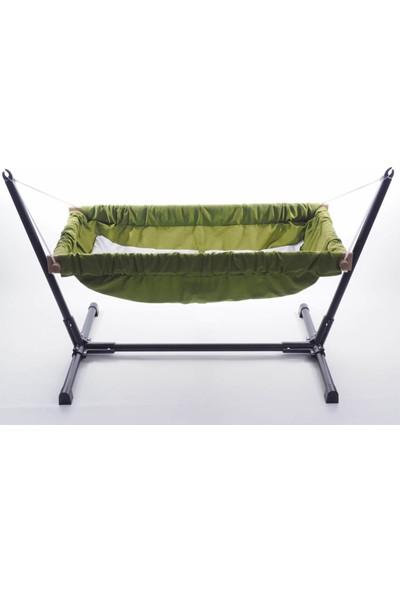 Svava Standlı Ahşap Bebek Hamak Beşik (Yeşil)