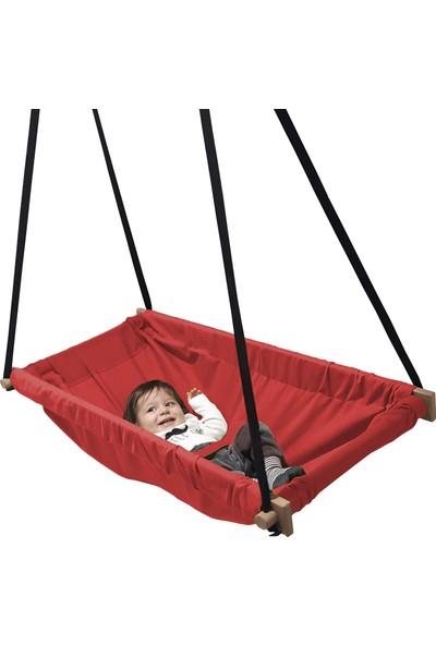 Svava Ahşap Yaylı Zıp Zıp Bebek Hamak Beşik (Kırmızı)