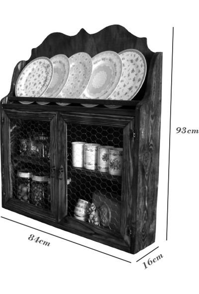 B&D Masif Ahşap Eskitme Tel Dolap Terek Mutfak Dolabı