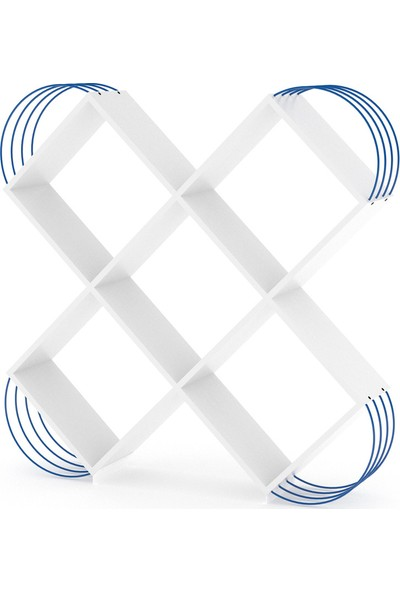 Rafevi Case Kitaplık (Beyaz-Mavi)