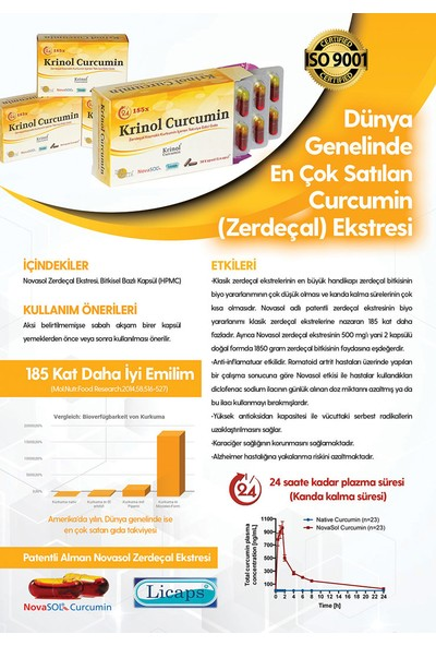 Krinol Novasol Curcumin - Licaps Novasol Zerdeçal Ekstresi - 4 Kutu