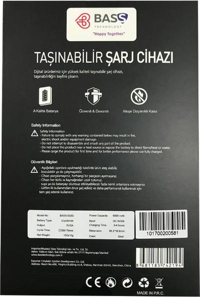 Bass 6000 mAh Lityum Polimer Powerbank Taşınabilir Şarj Cihazı