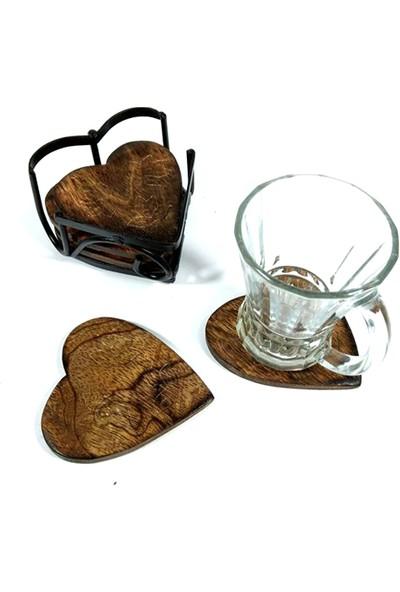 Comex Demir Kablı Kalp Şeklinde 6'lı Ahşap Şık Çay Bardak Altlık