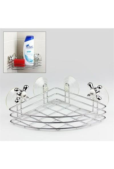 Pratik Şeyler Vantuzlu Köşe Banyo/Mutfak Rafı