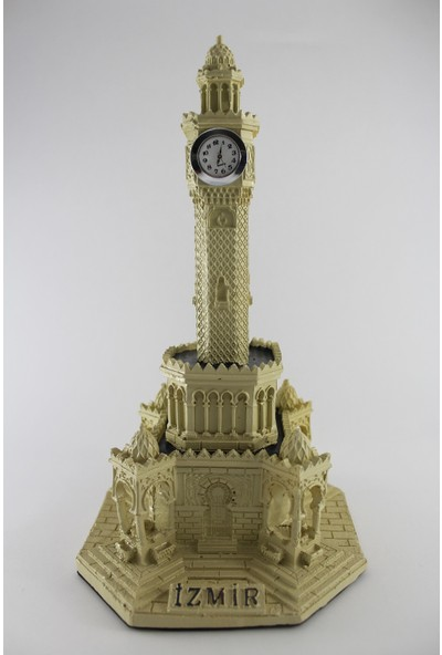 CajuArt İzmir Saat Kulesi Dekoratif El Yapımı Masa Saati Krem Renk