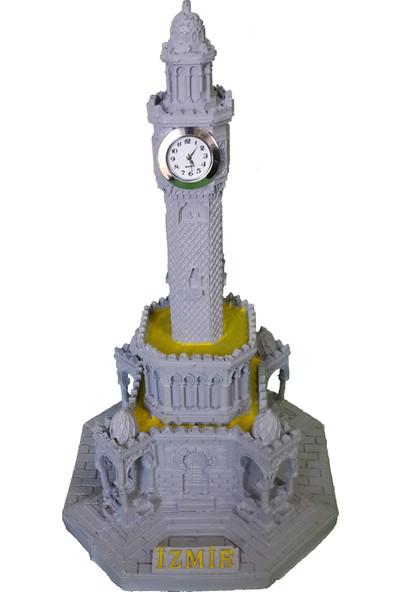CajuArt İzmir Saat Kulesi Dekoratif El Yapımı Masa Saati Gri Renk