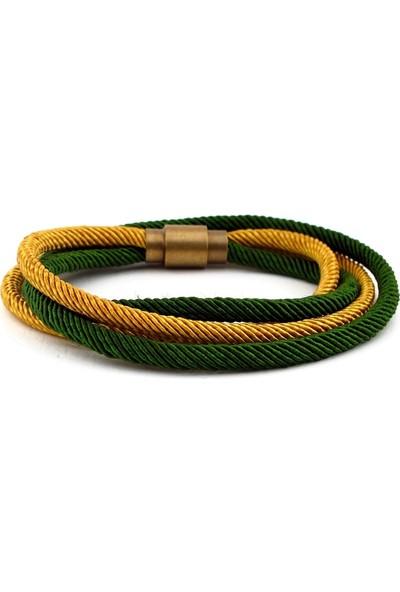 Solfera Sarı Yeşil Çift Sıra Sarma Manyetik Klips Erkek Bileklik Bt438