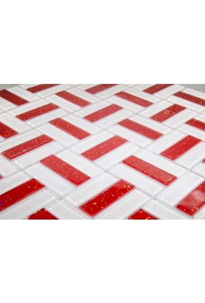 Dizayncam - Nantes Mix Kırmızı - Cam Mozaik