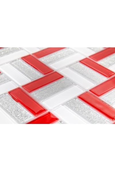 Dizayncam - Nantes Kırmızı - Cam Mozaik