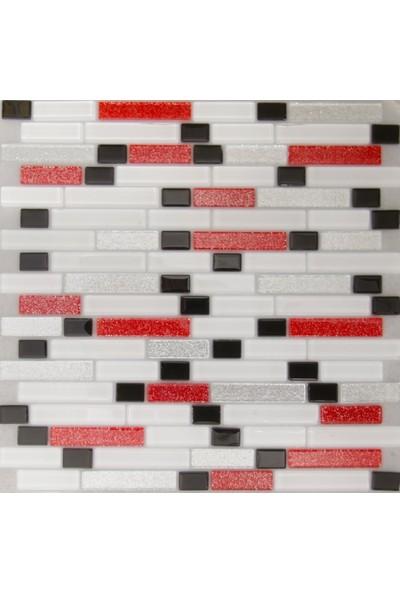 Dizayncam - Nice Kırmızı - Cam Mozaik