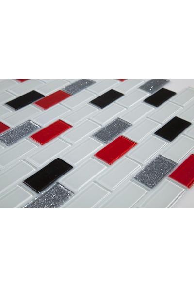 Dizayncam - Lyon Mix Kırmızı - Cam Mozaik