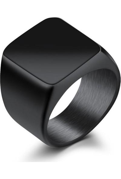 Chavin Parlak Siyah Kadın-Erkek Çelik Yüzük dc52