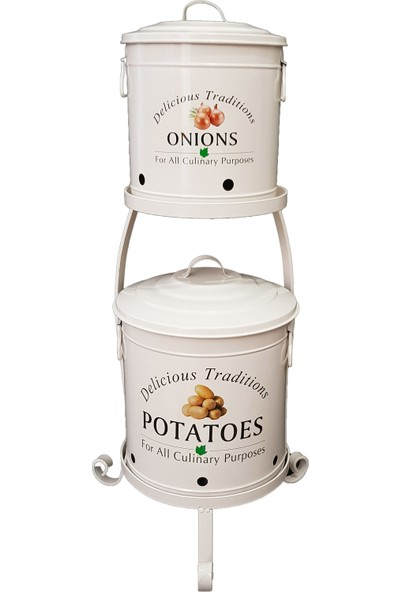 Bhç Ferforje Standlı Metal Patates Soğan Saklama Kabı
