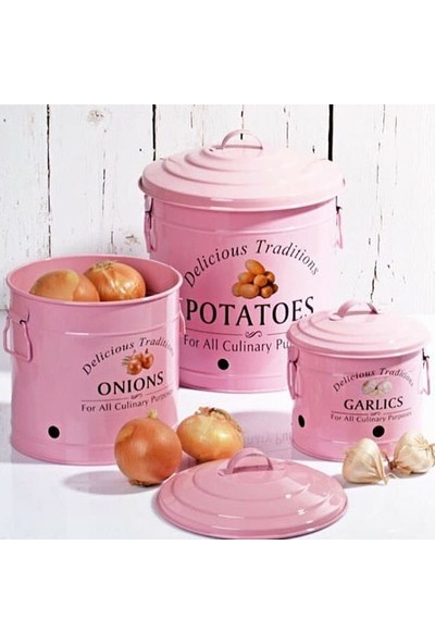 Bhç Ferforje 3Lü Metal Patates Soğan Sarımsak Saklama Kabı