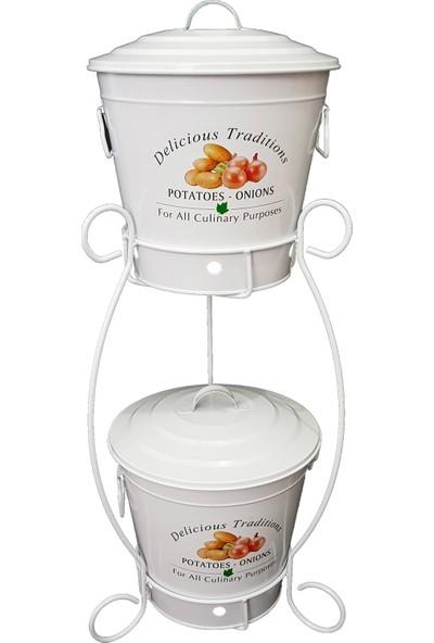 Bhç Standlı 2 Katlı Patates Soğan Kovası- Kutusu- Sepeti