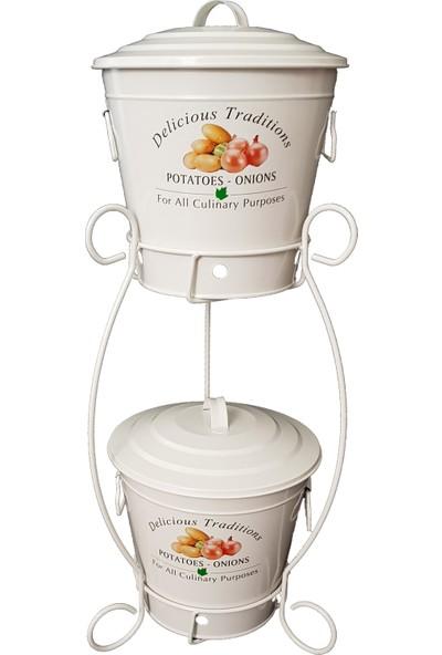 Bhç Standlı 2 Katlı Patates Soğan Saklama Kovası-Kabı-Kutusu