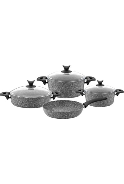 Taç Granit Silver Cook 7 Parça Tencere Takımı Gri (Tf)