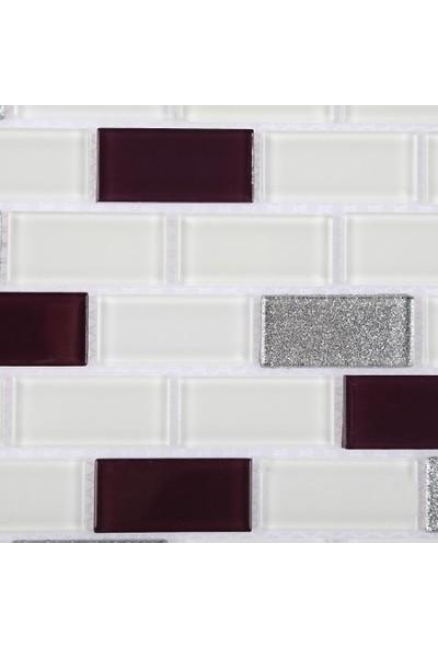 Mcm Mutfak Tezgah Arası Kristal Cam Mozaik Mp 456 Mürdüm Beyaz