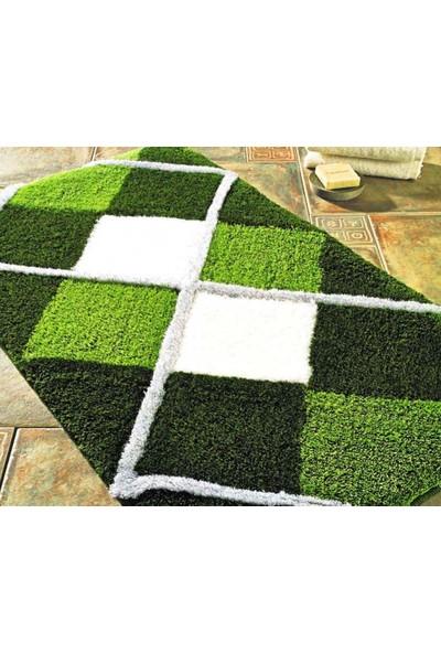 Tuvana Baklava Desenli Banyo Halısı Takımı Yeşil 2Li