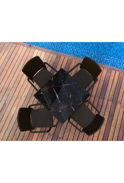 Estelia Rattan Evra 80x80 cm * Mermer Desenli * Masa Takımı - Kahverengi