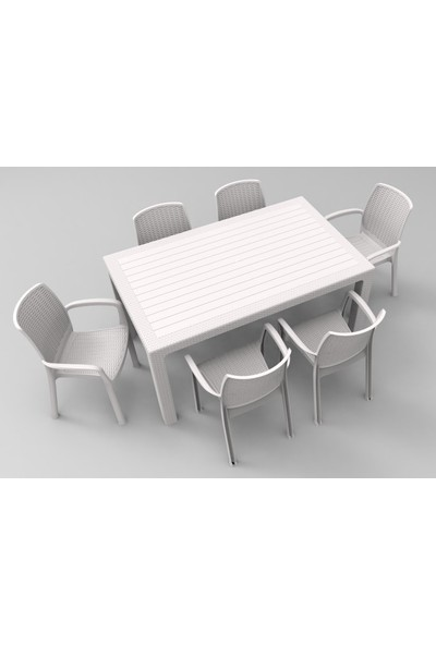 Estelia Rattan Diana 90x150 cm Masa Takımı - Beyaz