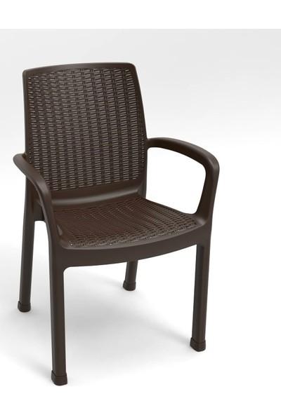 Estelia Rattan Evra 80x80 cm * Füme Camlı * Masa Takımı - Kahverengi