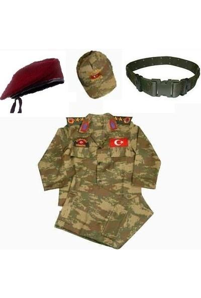 Furkan Giyim Bordo Bereli Erkek Çocuk Asker Komando Kıyafeti Kostüm