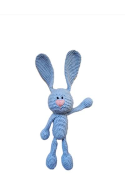 Damla Oyuncak Mavi Tavşan Örgü Peluş Oyuncak