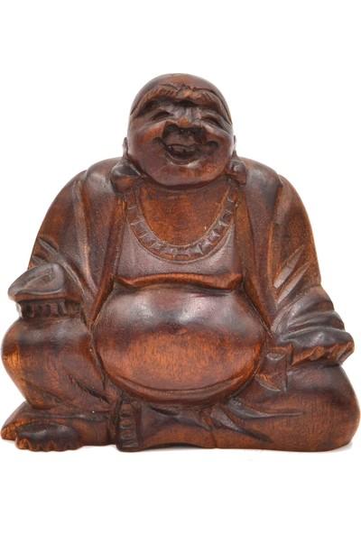 Miamantra Ahşap El Yapımı Gülen Buda Heykelciği 10 cm