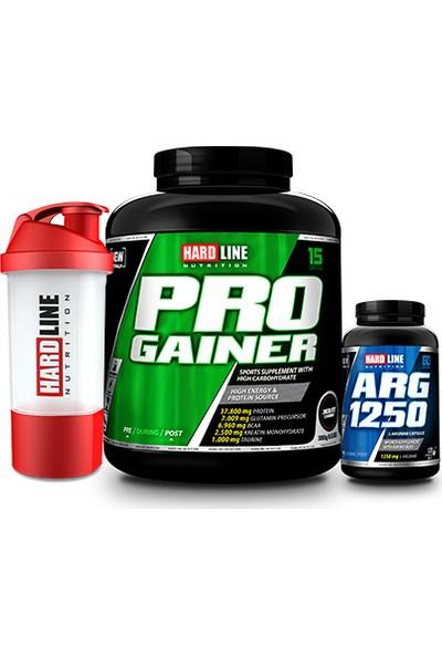 Hardline Nutrition Progainer Çikolata 3000 Gr + Arg 1250 120 Kapsül + Shaker