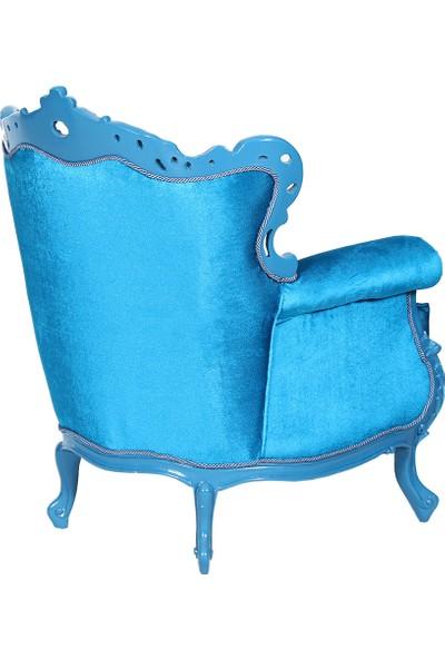 3A Mobilya Silk Turquoise Oymalı Berjer