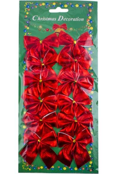 Zigzag Home Yılbaşı Süsü Fiyonk Kırmızı 5,5 x 5,5 cm 12'Li Paket