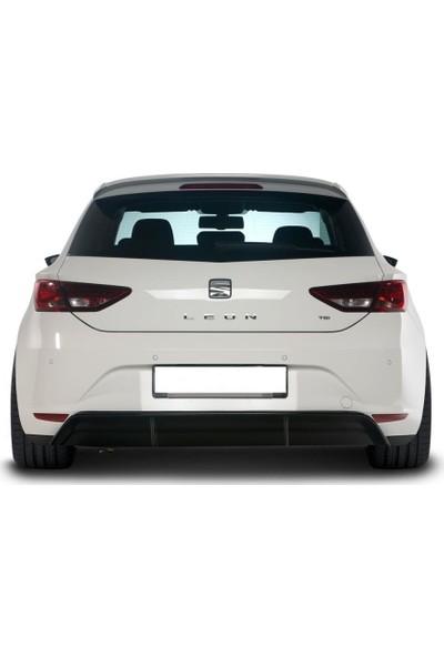 Seat Leon MK3 - 5F 2013 - 2016 Style Uyumlu Arka Tampon Eki - Difüzör (Plastik)