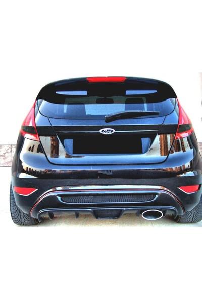 Ford Fiesta 2009 - 2016 Izgaralı Arka Tampon Eki - Difüzör (Plastik)