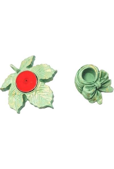 Merland Eskitme Modeli Yeşil El İşi Mumluk ve Şamdanlık.
