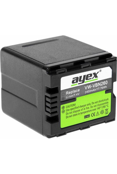 Ayex Panasonic Video Kameralar İçin Vw-Vbn260 Batarya