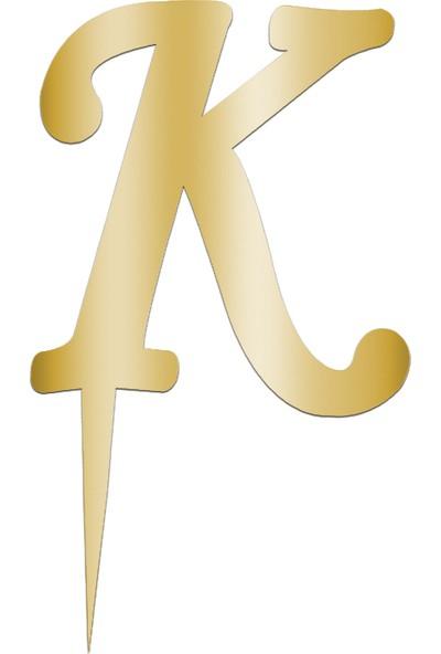 Partijet K Harf Aynalı Altın Pleksi 7 cm