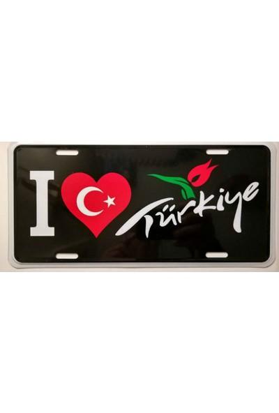Dekoratif Plaka I Love Turkiye Siyah