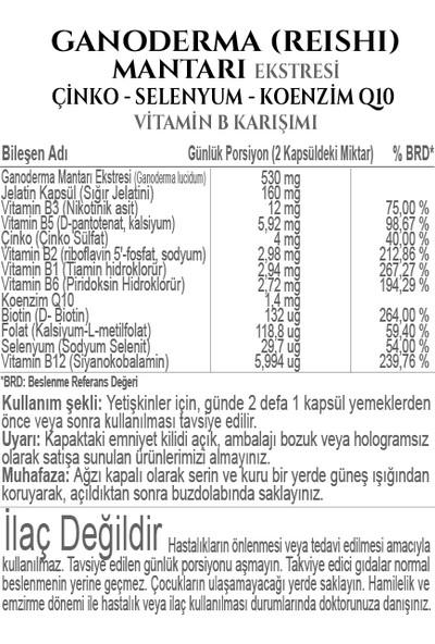 İmunfort Ganoderma (Reishi) Mantarı Ekstresi Çinko Selenyum Koenzim Q10 Vitamin B Karışımı