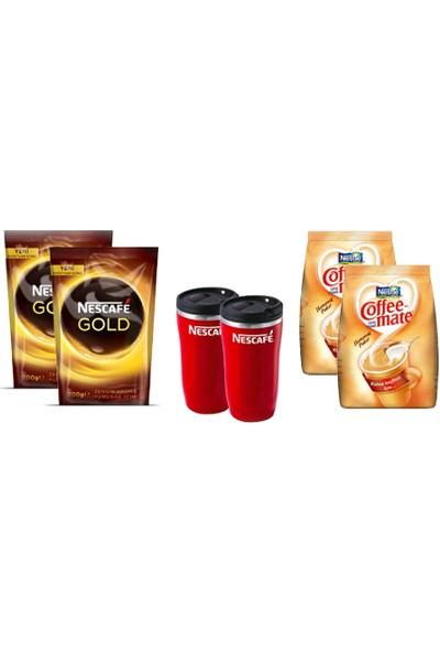 Nescafe 200 Gr Eko Paket 2 Adet + 2 Adet Nestle Coffee Mate 500 Gr + 2 Adet Termos