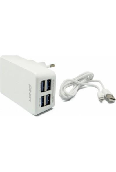 Ldnio 4.2A Şarj Cihazı - 4 Usb Çıkışlı + Andriod Data Kablo
