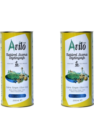 Avilo Soğuk Sıkım Natürel Sızma Zeytinyağı 2 x 2 lt (Sabun Hediyeli)