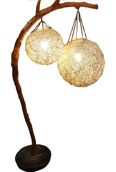 Doğal Ağaç Lambader Aydınlatma Çift Küreli Boynuzlu Lamba